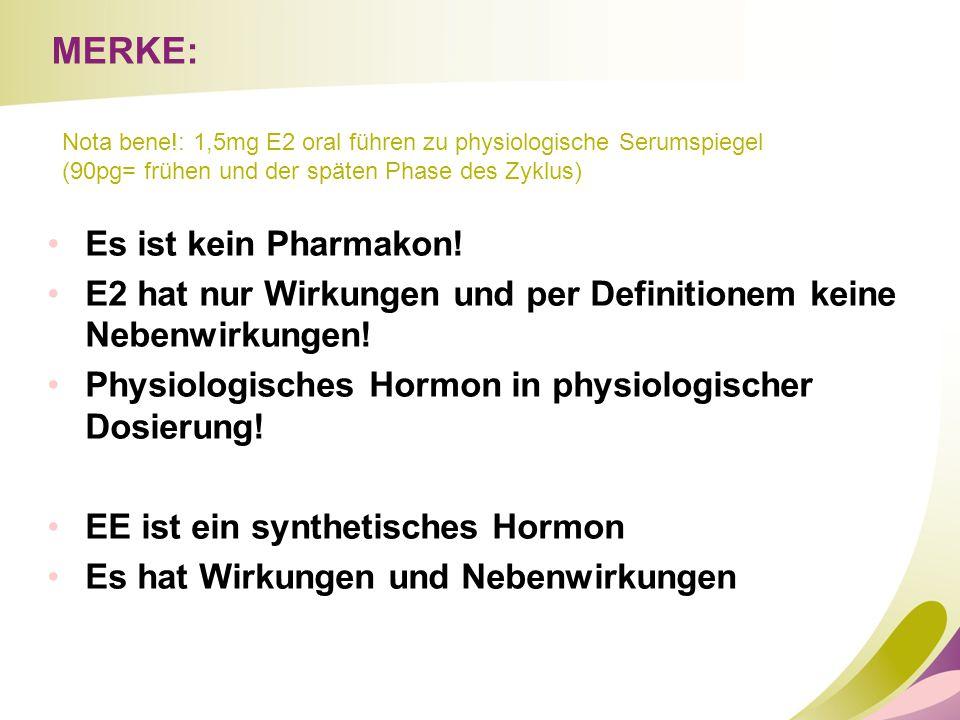MERKE: Es ist kein Pharmakon! E2 hat nur Wirkungen und per Definitionem keine Nebenwirkungen! Physiologisches Hormon in physiologischer Dosierung! EE