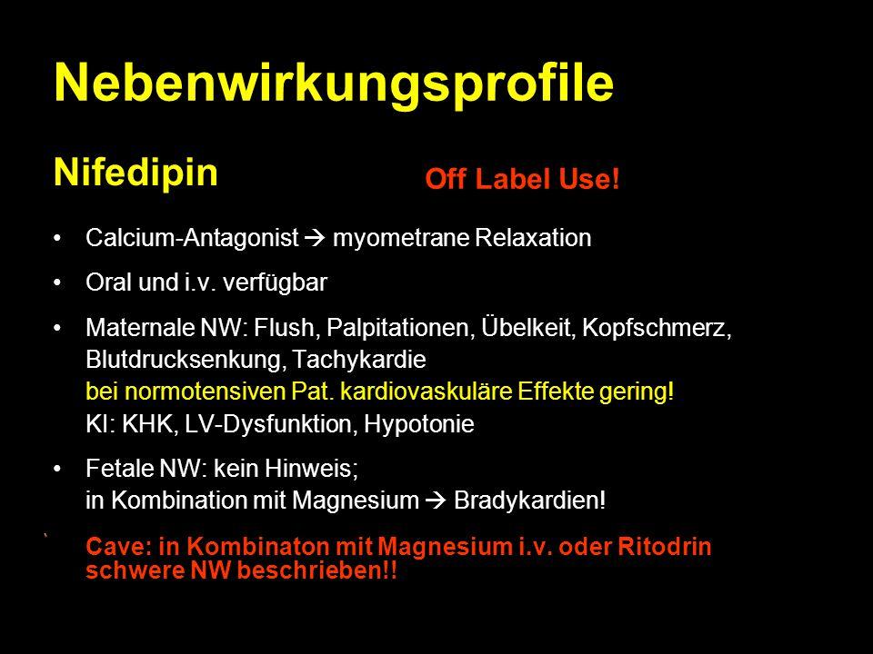 Nebenwirkungsprofile Nifedipin Calcium-Antagonist  myometrane Relaxation Oral und i.v. verfügbar Maternale NW: Flush, Palpitationen, Übelkeit, Kopfsc