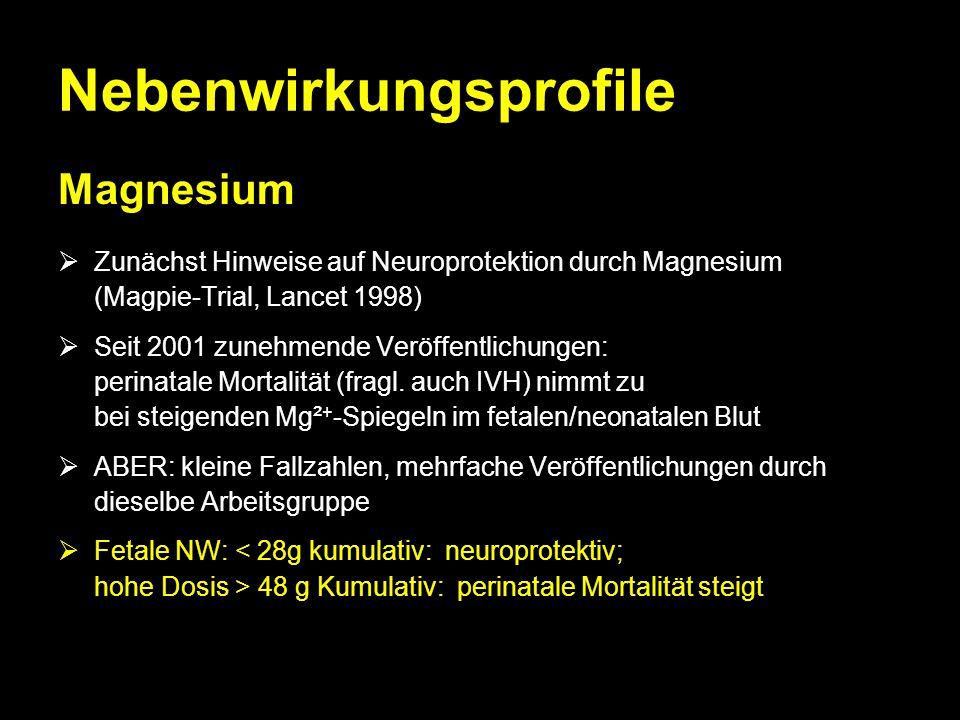 Nebenwirkungsprofile Magnesium  Zunächst Hinweise auf Neuroprotektion durch Magnesium (Magpie-Trial, Lancet 1998)  Seit 2001 zunehmende Veröffentlic