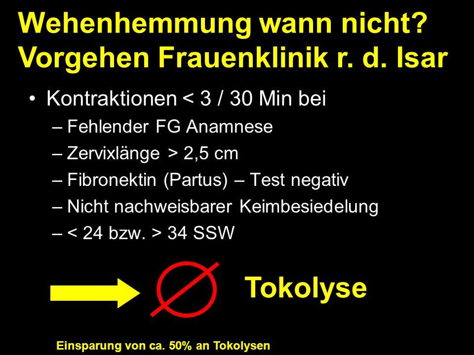 Kontraktionen < 3 / 30 Min bei –Fehlender FG Anamnese –Zervixlänge > 2,5 cm –Fibronektin (Partus) – Test negativ –Nicht nachweisbarer Keimbesiedelung