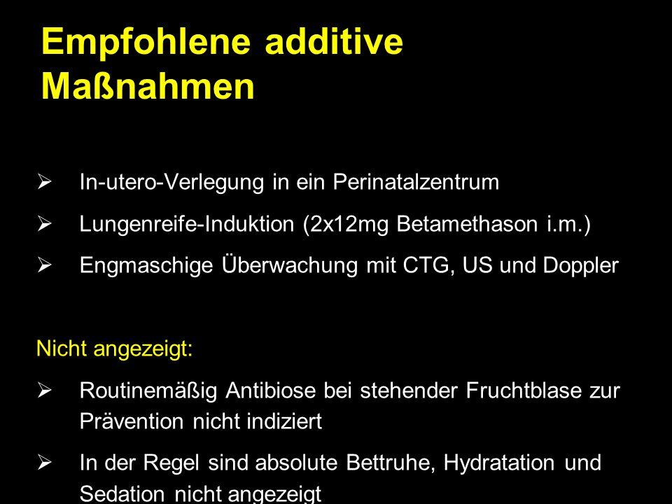 Empfohlene additive Maßnahmen  In-utero-Verlegung in ein Perinatalzentrum  Lungenreife-Induktion (2x12mg Betamethason i.m.)  Engmaschige Überwachun