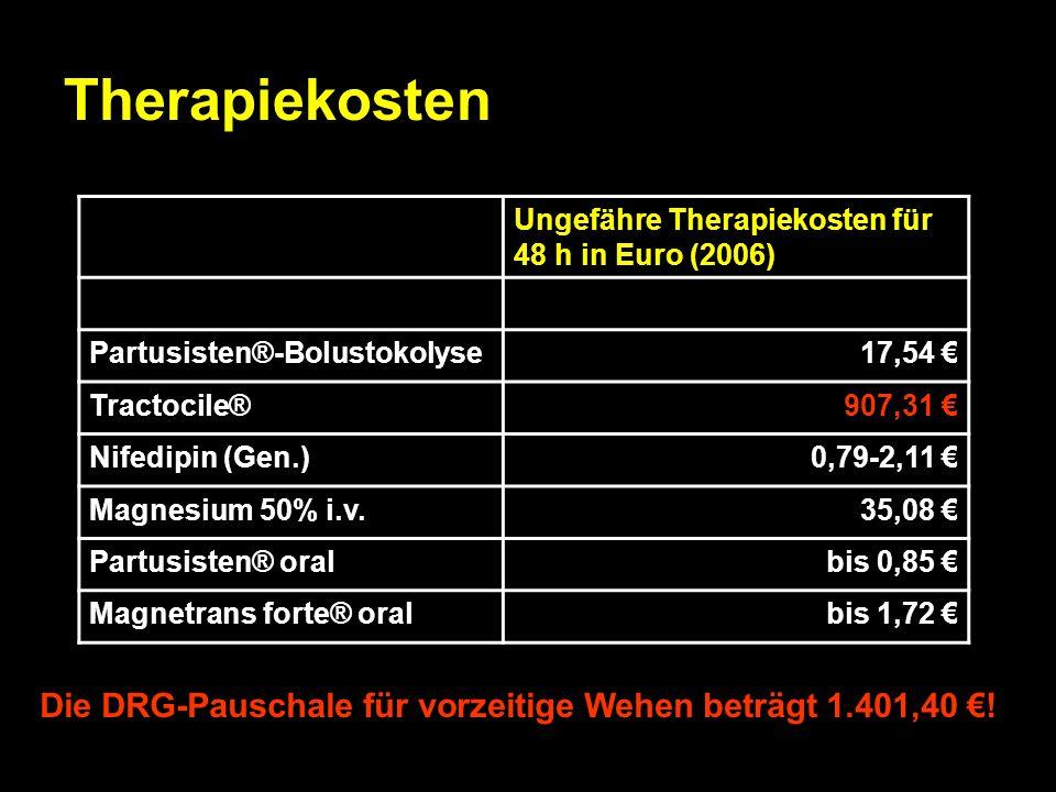 Therapiekosten Ungefähre Therapiekosten für 48 h in Euro (2006) Partusisten®-Bolustokolyse17,54 € Tractocile®907,31 € Nifedipin (Gen.)0,79-2,11 € Magn