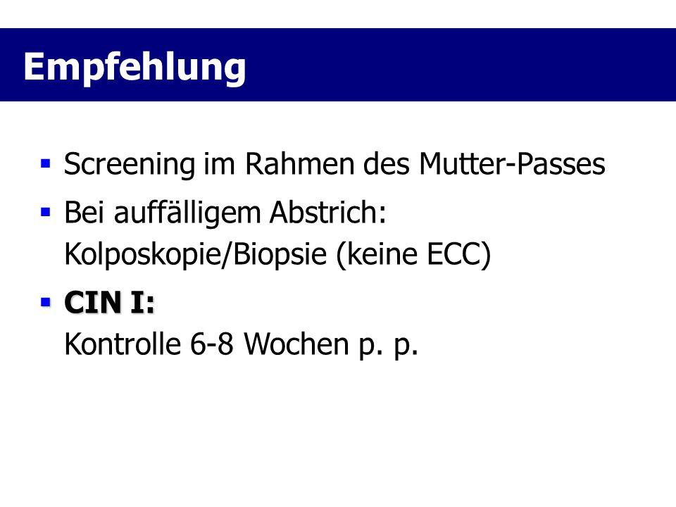  Screening im Rahmen des Mutter-Passes  Bei auffälligem Abstrich: Kolposkopie/Biopsie (keine ECC)  CIN I:  CIN I: Kontrolle 6-8 Wochen p. p. Empfe