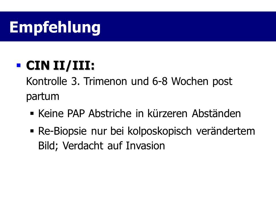  CIN II/III:  CIN II/III: Kontrolle 3. Trimenon und 6-8 Wochen post partum  Keine PAP Abstriche in kürzeren Abständen  Re-Biopsie nur bei kolposko