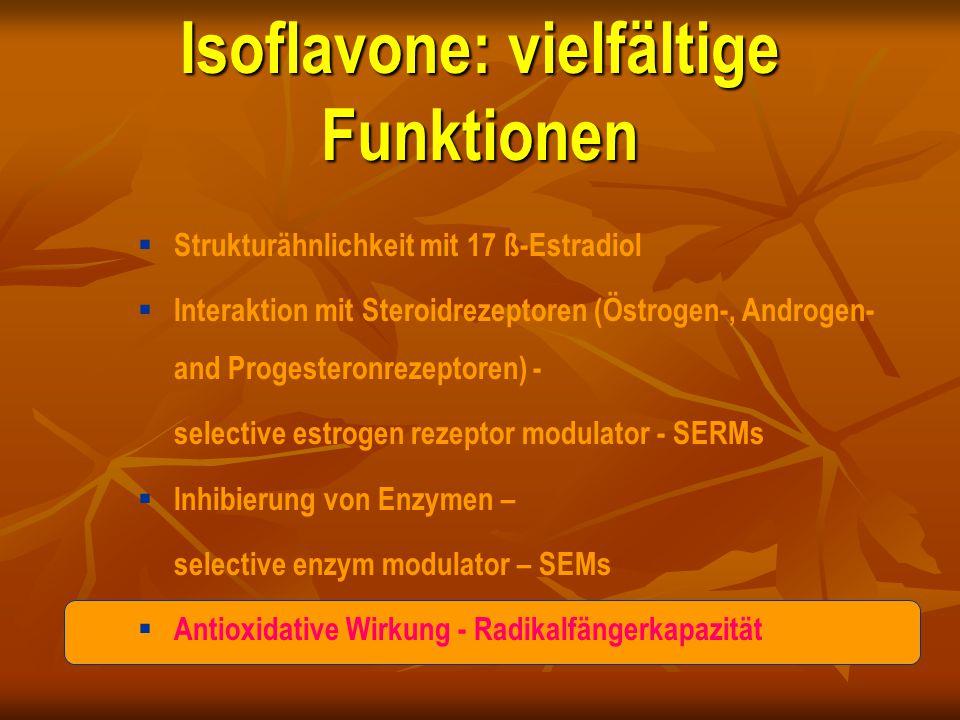 Isoflavone: vielfältige Funktionen  Strukturähnlichkeit mit 17 ß-Estradiol  Interaktion mit Steroidrezeptoren (Östrogen-, Androgen- and Progesteronr