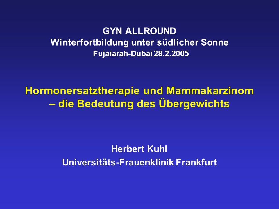 GYN ALLROUND Winterfortbildung unter südlicher Sonne Fujaiarah-Dubai 28.2.2005 Hormonersatztherapie und Mammakarzinom – die Bedeutung des Übergewichts