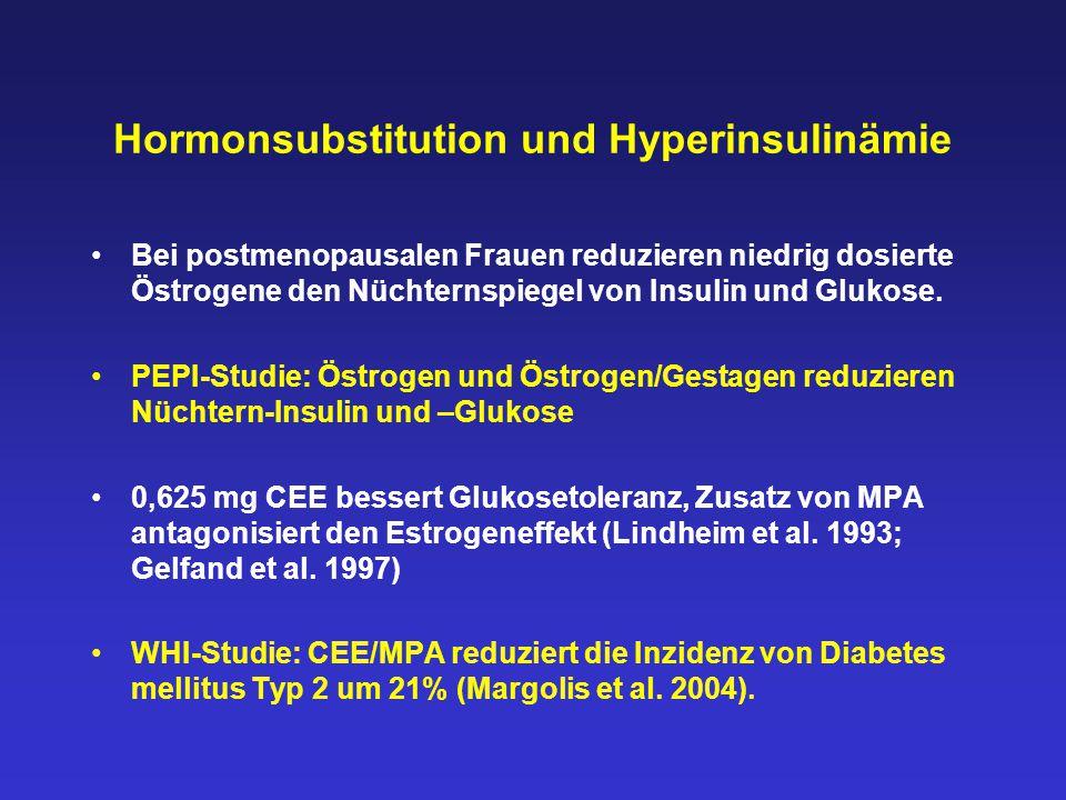 Hormonsubstitution und Hyperinsulinämie Bei postmenopausalen Frauen reduzieren niedrig dosierte Östrogene den Nüchternspiegel von Insulin und Glukose.