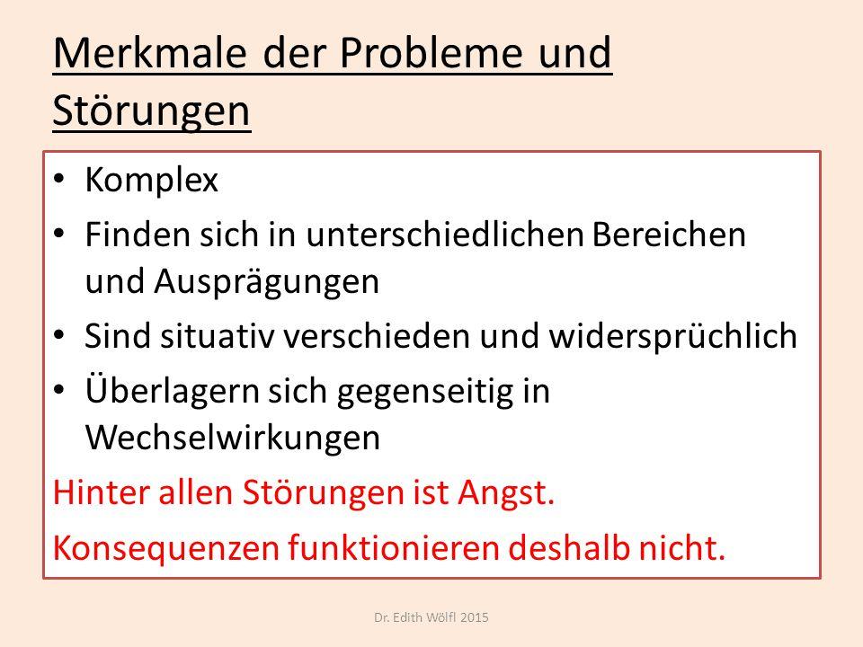 Merkmale der Probleme und Störungen Komplex Finden sich in unterschiedlichen Bereichen und Ausprägungen Sind situativ verschieden und widersprüchlich