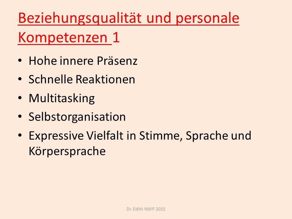 Beziehungsqualität und personale Kompetenzen 1 Hohe innere Präsenz Schnelle Reaktionen Multitasking Selbstorganisation Expressive Vielfalt in Stimme,
