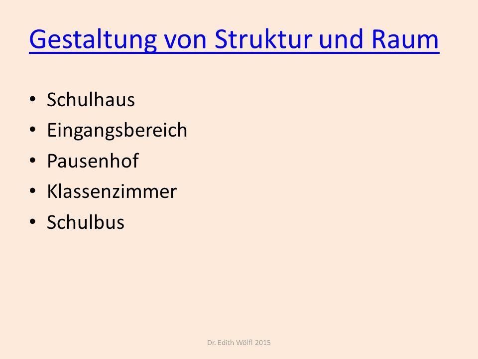 Gestaltung von Struktur und Raum Schulhaus Eingangsbereich Pausenhof Klassenzimmer Schulbus Dr. Edith Wölfl 2015