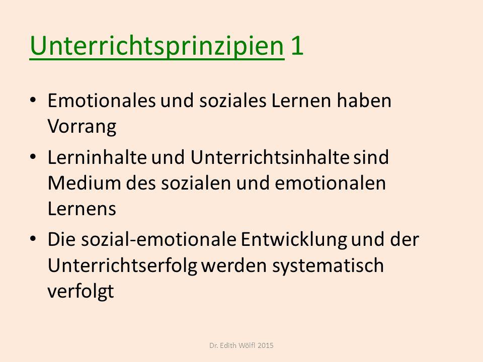 Unterrichtsprinzipien 1 Emotionales und soziales Lernen haben Vorrang Lerninhalte und Unterrichtsinhalte sind Medium des sozialen und emotionalen Lern