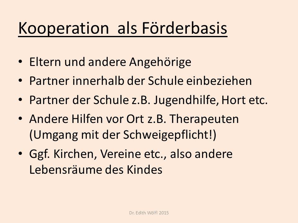 Kooperation als Förderbasis Eltern und andere Angehörige Partner innerhalb der Schule einbeziehen Partner der Schule z.B. Jugendhilfe, Hort etc. Ander