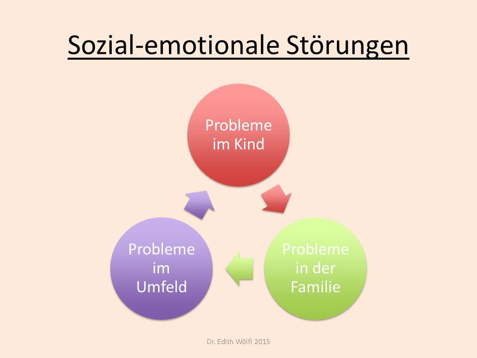 Sozial-emotionale Störungen 1.Gehen Wechselwirkungen ein 2.Können nicht isoliert betrachtet werden 3.Sind nicht eindimensional zu behandeln 4.Reagieren nicht auf Konsequenzen sondern auf Interventionen Dr.