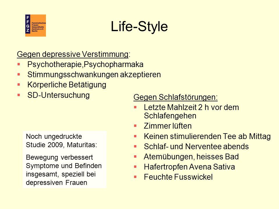 Life-Style Gegen Schlafstörungen:  Letzte Mahlzeit 2 h vor dem Schlafengehen  Zimmer lüften  Keinen stimulierenden Tee ab Mittag  Schlaf- und Nerv
