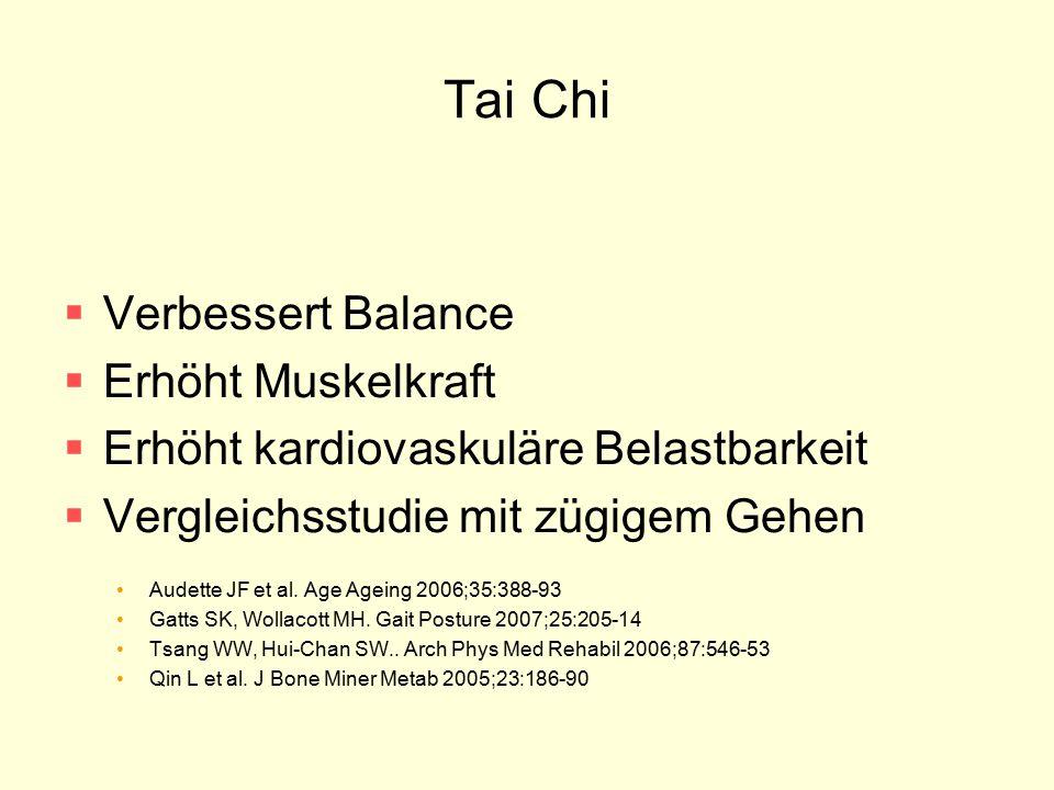 Tai Chi  Verbessert Balance  Erhöht Muskelkraft  Erhöht kardiovaskuläre Belastbarkeit  Vergleichsstudie mit zügigem Gehen Audette JF et al. Age Ag