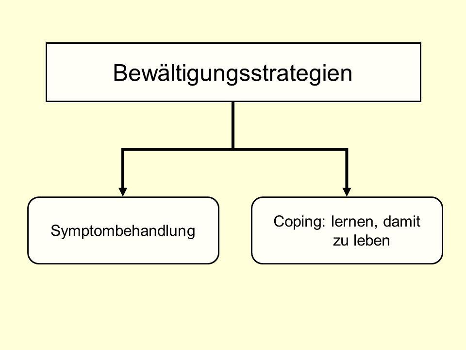 Bewältigungsstrategien Symptombehandlung Coping: lernen, damit zu leben
