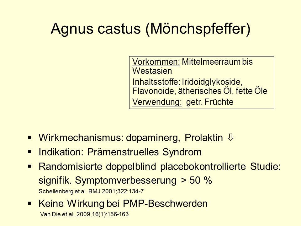 Agnus castus (Mönchspfeffer) Vorkommen: Mittelmeerraum bis Westasien Inhaltsstoffe: Iridoidglykoside, Flavonoide, ätherisches Öl, fette Öle Verwendung