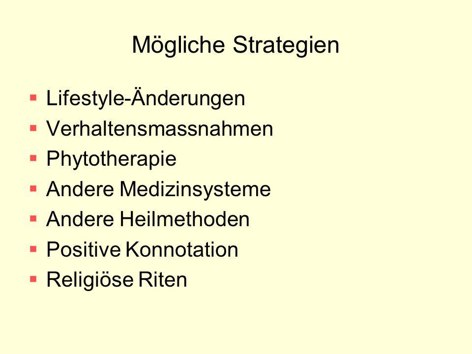 Mögliche Strategien  Lifestyle-Änderungen  Verhaltensmassnahmen  Phytotherapie  Andere Medizinsysteme  Andere Heilmethoden  Positive Konnotation