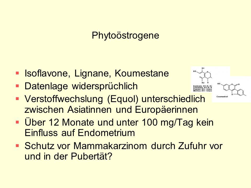 Phytoöstrogene  Isoflavone, Lignane, Koumestane  Datenlage widersprüchlich  Verstoffwechslung (Equol) unterschiedlich zwischen Asiatinnen und Europ