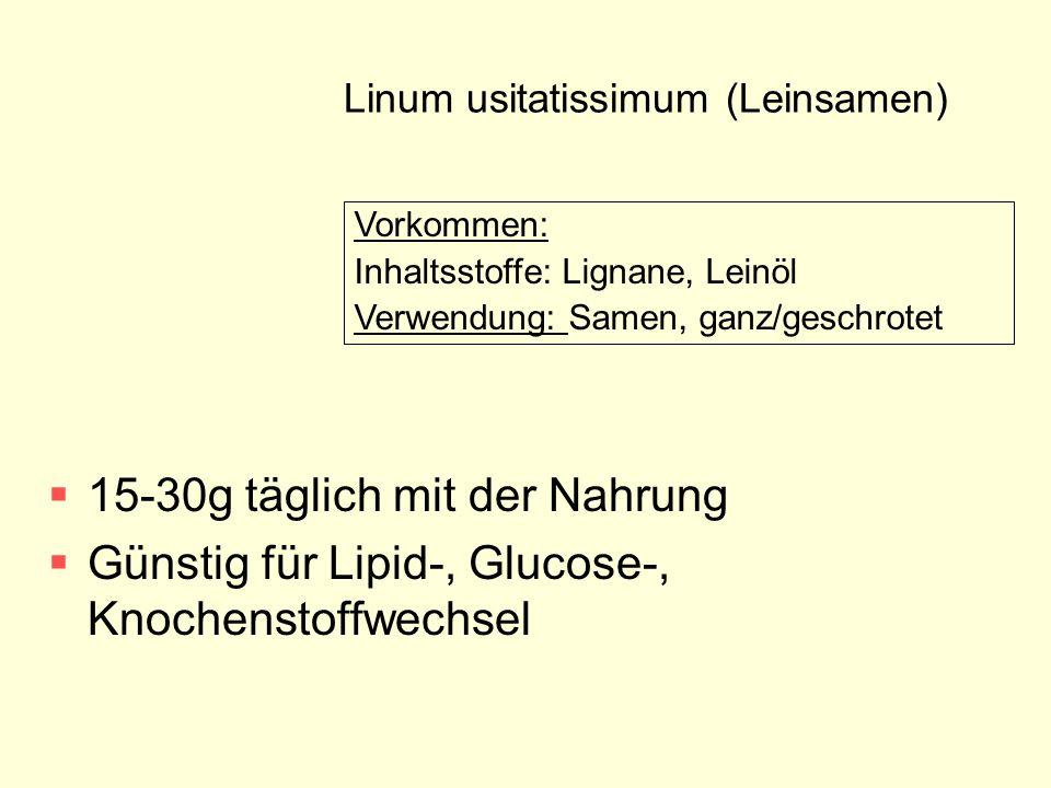 Linum usitatissimum (Leinsamen)  15-30g täglich mit der Nahrung  Günstig für Lipid-, Glucose-, Knochenstoffwechsel Vorkommen: Inhaltsstoffe: Lignane