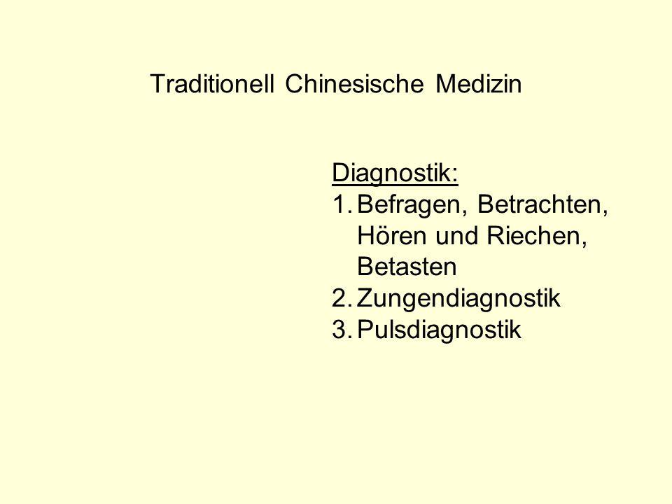 Traditionell Chinesische Medizin Diagnostik: 1.Befragen, Betrachten, Hören und Riechen, Betasten 2.Zungendiagnostik 3.Pulsdiagnostik