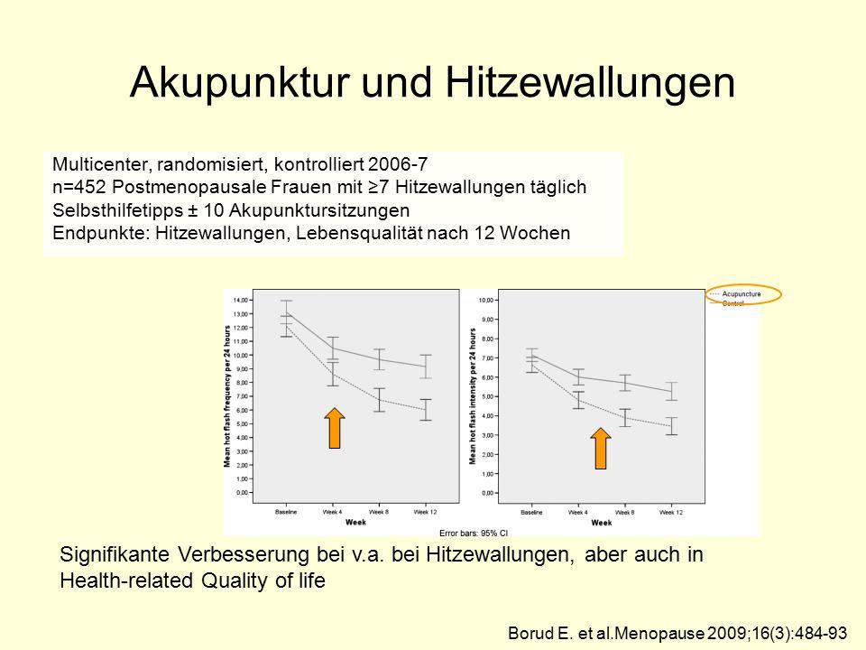 Akupunktur und Hitzewallungen Multicenter, randomisiert, kontrolliert 2006-7 n=452 Postmenopausale Frauen mit ≥7 Hitzewallungen täglich Selbsthilfetip