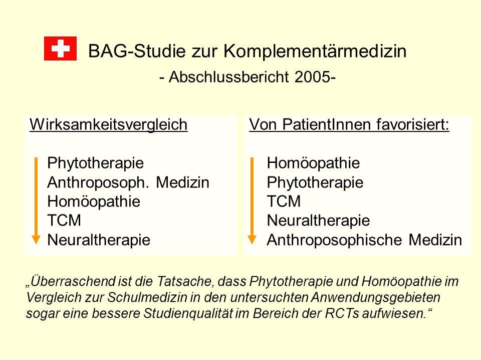 BAG-Studie zur Komplementärmedizin - Abschlussbericht 2005- Wirksamkeitsvergleich Phytotherapie Anthroposoph. Medizin Homöopathie TCM Neuraltherapie V