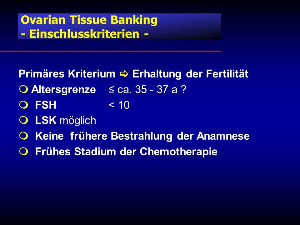 Primäres Kriterium  Erhaltung der Fertilität  Altersgrenze ≤ ca.