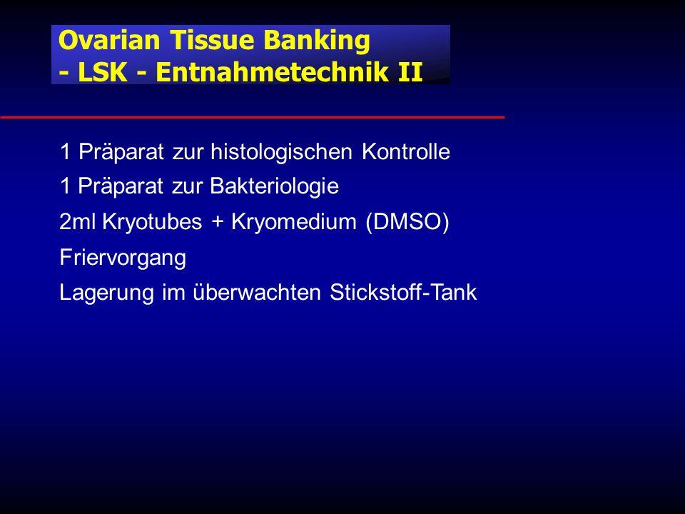 1 Präparat zur histologischen Kontrolle 1 Präparat zur Bakteriologie 2ml Kryotubes + Kryomedium (DMSO) Friervorgang Lagerung im überwachten Stickstoff-Tank Ovarian Tissue Banking - LSK - Entnahmetechnik II