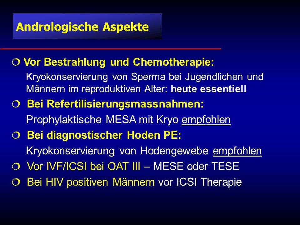 Andrologische Aspekte  Vor Bestrahlung und Chemotherapie: Kryokonservierung von Sperma bei Jugendlichen und Männern im reproduktiven Alter: heute essentiell  Bei Refertilisierungsmassnahmen: Prophylaktische MESA mit Kryo empfohlen  Bei diagnostischer Hoden PE: Kryokonservierung von Hodengewebe empfohlen  Vor IVF/ICSI bei OAT III – MESE oder TESE  Bei HIV positiven Männern vor ICSI Therapie