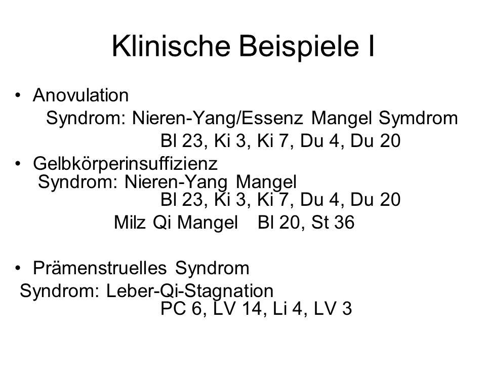 Klinische Beispiele I Anovulation Syndrom: Nieren-Yang/Essenz Mangel Symdrom Bl 23, Ki 3, Ki 7, Du 4, Du 20 Gelbkörperinsuffizienz Syndrom: Nieren-Yan