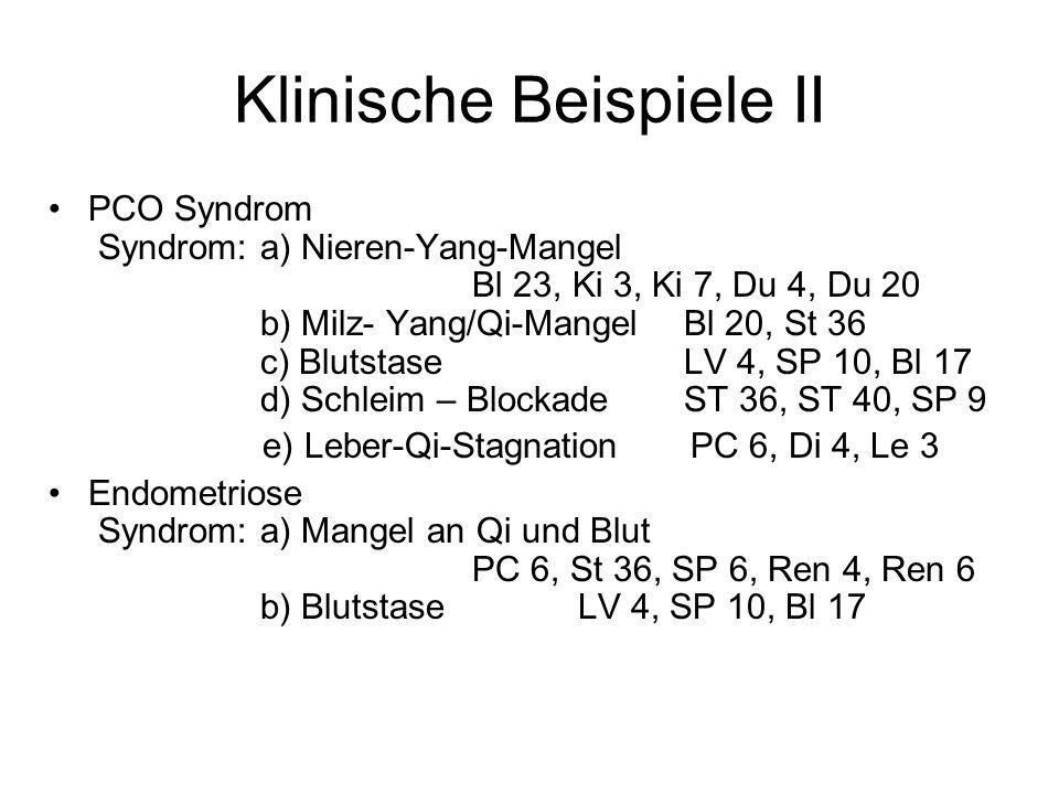 Klinische Beispiele II PCO Syndrom Syndrom: a) Nieren-Yang-Mangel Bl 23, Ki 3, Ki 7, Du 4, Du 20 b) Milz- Yang/Qi-MangelBl 20, St 36 c) BlutstaseLV 4,