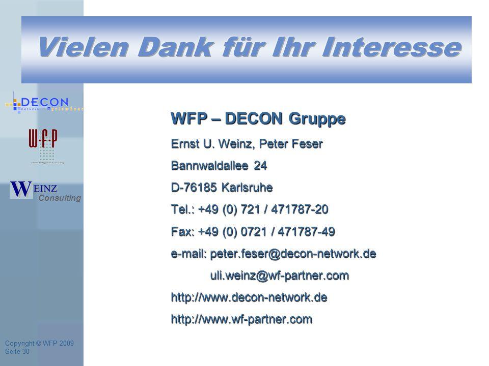 Copyright © WFP 2009 Seite 30 Copyright © WFP 2009 Seite 30 WFP – DECON Gruppe Ernst U.