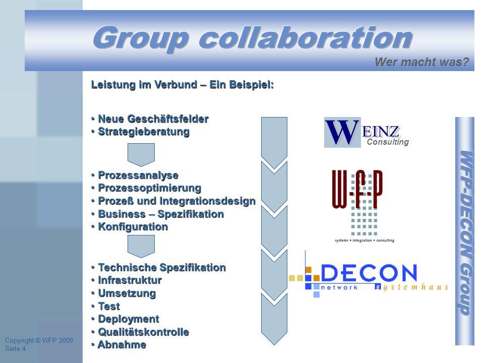 Copyright © WFP 2009 Seite 4 Copyright © WFP 2009 Seite 4 Consulting Neue Geschäftsfelder Neue Geschäftsfelder Strategieberatung Strategieberatung Wer macht was.