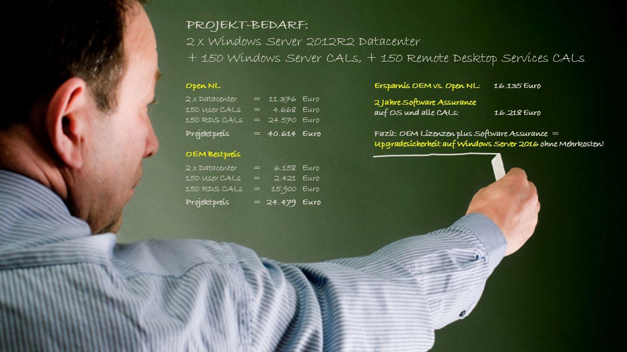 PROJEKT-BEDARF: 2 x Windows Server 2012R2 Datacenter + 150 Windows Server CALs, + 150 Remote Desktop Services CALs Ersparnis OEM vs. Open NL:16.135 Eu