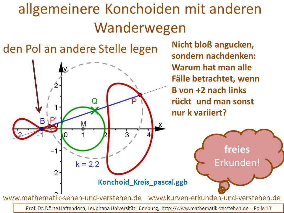 allgemeinere Konchoiden mit anderen Wanderwegen Prof. Dr. Dörte Haftendorn, Leuphana Universität Lüneburg, http://www.mathematik-verstehen.de Folie 13