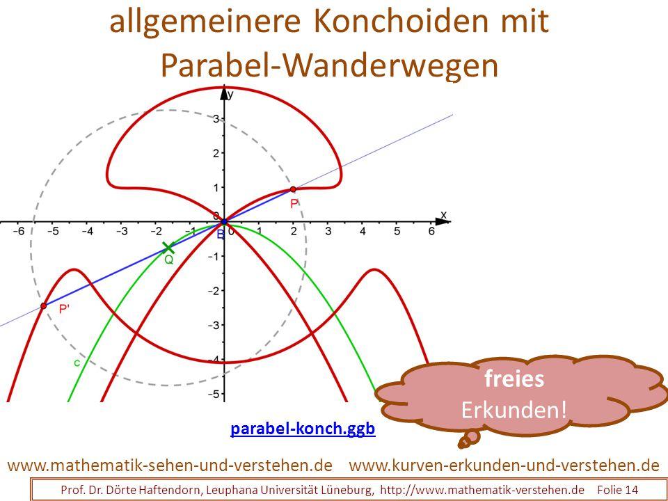 allgemeinere Konchoiden mit Parabel-Wanderwegen Prof. Dr. Dörte Haftendorn, Leuphana Universität Lüneburg, http://www.mathematik-verstehen.de Folie 14