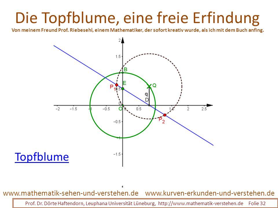 Die Topfblume, eine freie Erfindung Prof. Dr. Dörte Haftendorn, Leuphana Universität Lüneburg, http://www.mathematik-verstehen.de Folie 32 www.kurven-