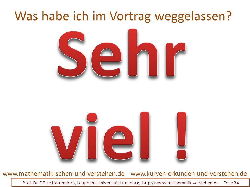 Was habe ich im Vortrag weggelassen? Prof. Dr. Dörte Haftendorn, Leuphana Universität Lüneburg, http://www.mathematik-verstehen.de Folie 34 www.kurven