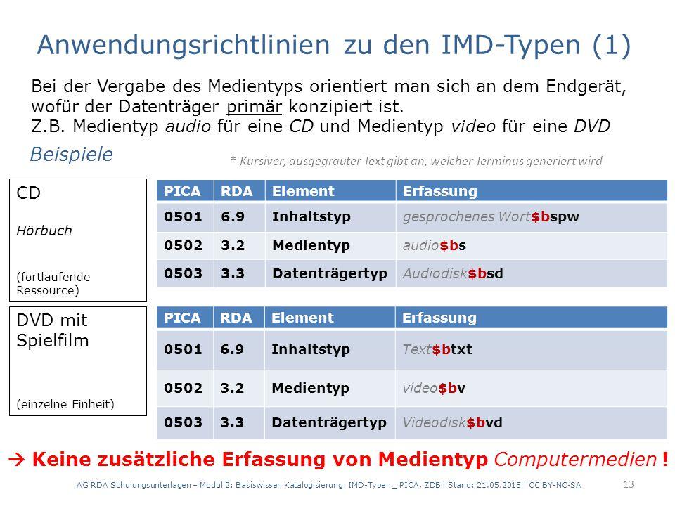 AG RDA Schulungsunterlagen – Modul 2: Basiswissen Katalogisierung: IMD-Typen _ PICA, ZDB | Stand: 21.05.2015 | CC BY-NC-SA 13 Bei der Vergabe des Medi