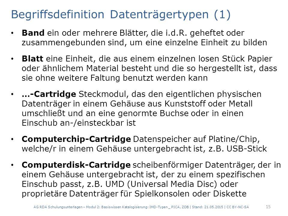 Begriffsdefinition Datenträgertypen (1) Band ein oder mehrere Blätter, die i.d.R. geheftet oder zusammengebunden sind, um eine einzelne Einheit zu bil