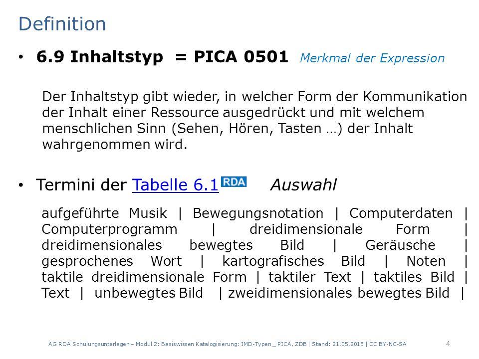 Definition 6.9 Inhaltstyp = PICA 0501 Merkmal der Expression Der Inhaltstyp gibt wieder, in welcher Form der Kommunikation der Inhalt einer Ressource