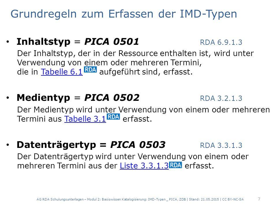 Grundregeln zum Erfassen der IMD-Typen Inhaltstyp = PICA 0501 RDA 6.9.1.3 Der Inhaltstyp, der in der Ressource enthalten ist, wird unter Verwendung vo