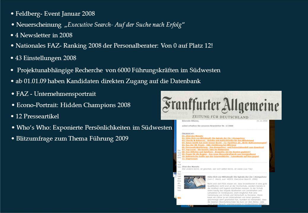 Feldberg- Event Januar 2008 43 Einstellungen 2008 Projektunabhängige Recherche von 6000 Führungskräften im Südwesten 4 Newsletter in 2008 Blitzumfrage zum Thema Führung 2009 FAZ - Unternehmensportrait Nationales FAZ- Ranking 2008 der Personalberater: Von 0 auf Platz 12.