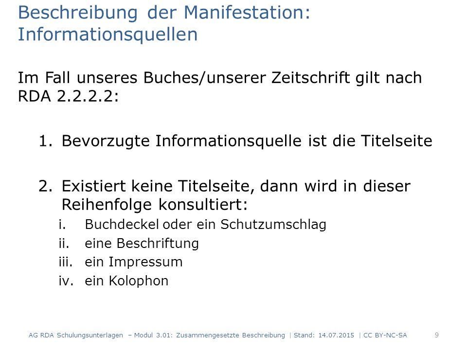 Beschreibung der Manifestation: Informationsquellen Im Fall unseres Buches/unserer Zeitschrift gilt nach RDA 2.2.2.2: 1.Bevorzugte Informationsquelle