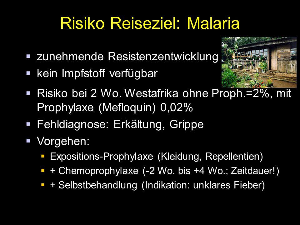 Risiko Reiseziel: Malaria  zunehmende Resistenzentwicklung  kein Impfstoff verfügbar  Risiko bei 2 Wo. Westafrika ohne Proph.=2%, mit Prophylaxe (M