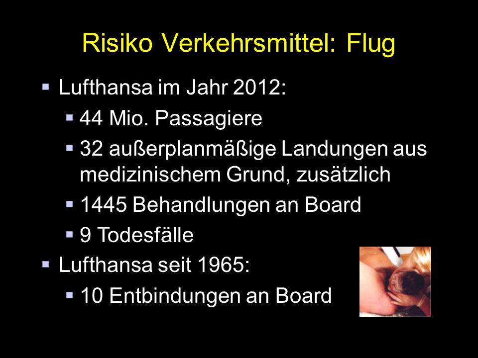 Risiko Verkehrsmittel: Flug  Lufthansa im Jahr 2012:  44 Mio.