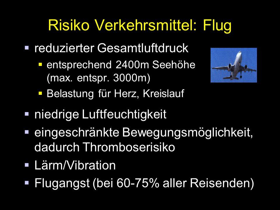 Risiko Verkehrsmittel: Flug  reduzierter Gesamtluftdruck  entsprechend 2400m Seehöhe (max.