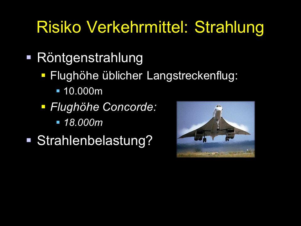 Risiko Verkehrmittel: Strahlung  Röntgenstrahlung  Flughöhe üblicher Langstreckenflug:  10.000m  Flughöhe Concorde:  18.000m  Strahlenbelastung?
