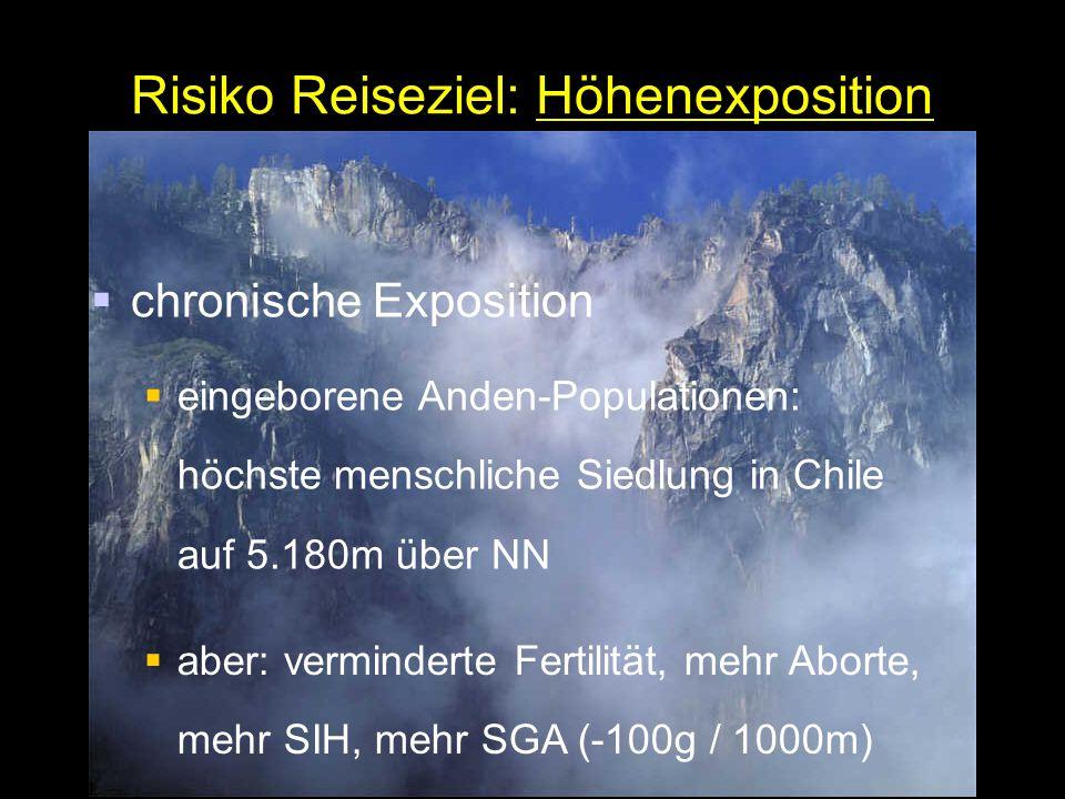 Risiko Reiseziel: Höhenexposition  chronische Exposition  eingeborene Anden-Populationen: höchste menschliche Siedlung in Chile auf 5.180m über NN  aber: verminderte Fertilität, mehr Aborte, mehr SIH, mehr SGA (-100g / 1000m)